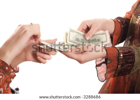Girls hands with  money on white background