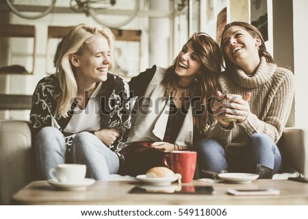 Girls having fun at home, laughing.  #549118006