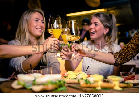 Girls having fun while drinking Wine during a brunch