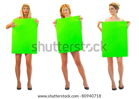 Girls holding billboard signs - stock photo