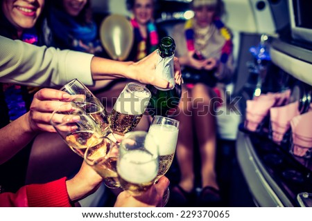 Girls in limo at hen-party