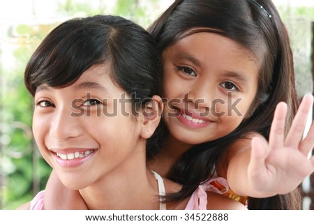 girls in outdoors - stock photo