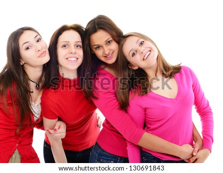 girls in red, group of four young happy smiling women in red clothes over white