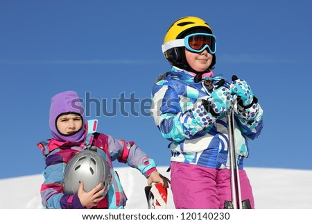 Girls in ski equipment