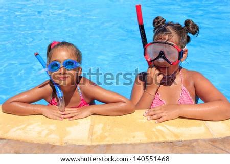 Girls in the swimming pool