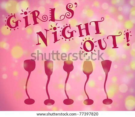 Girls night out fun type with light filled background and row of cocktail glasses all in pink shades with golden lights