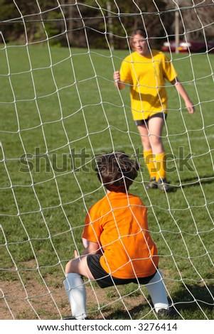 Girls on Soccer Field - Goalie