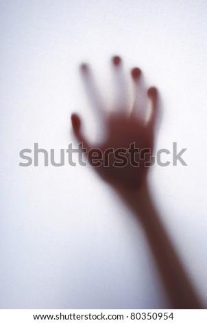 Girls palm behind white background