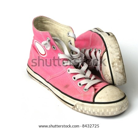 Girls pink sneakers - isolated on white