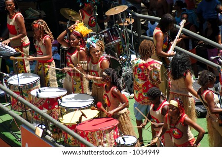 Girls playing drum