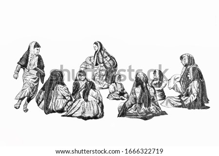 Girls playing traditional game. Portrait from Kuwait Quarter 1/4 Dinar 1994 Banknotes.