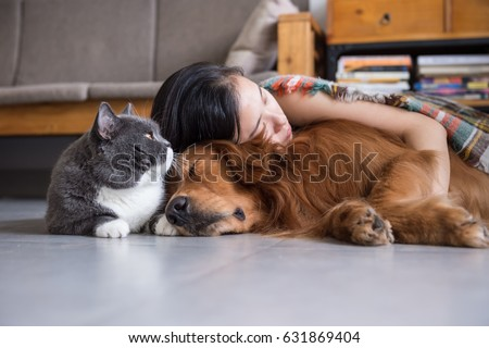 Girls sleep with cats and dogs ストックフォト ©