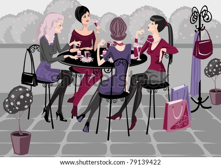 girls spend their time in a street cafe.Raster version. vector in portfolio.