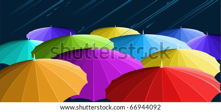 Girls under umbrellas are covered from a rain.