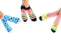 Girls wearing striped socks colorful beauty for warmth in winter.