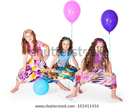 Girls with balloons on a white background