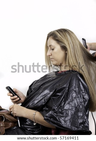 girls with long hair at hairdresser