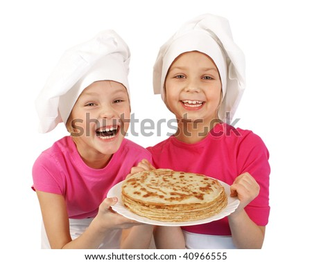 Girls with plate of Pancakes