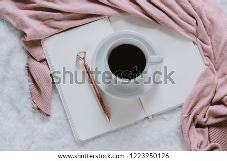 Girly Flatlay Cozy Room, Coffee and Writing