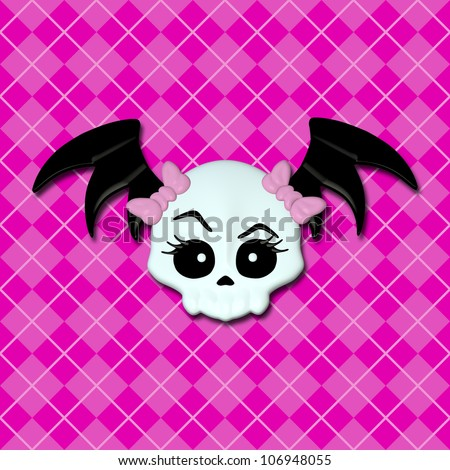 Girly Skullz: emo skull with pink bows and bat wings on a pink argyle background.  Seamless tile.