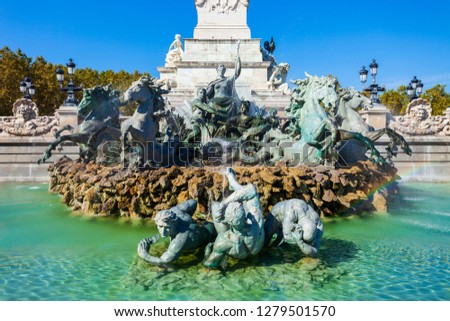 Girondins Monument is located at Place des Quinconces square in the centre of Bordeaux city in France #1279501570