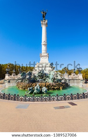 Girondins Monument is located at Place des Quinconces square in the centre of Bordeaux city in France #1389527006