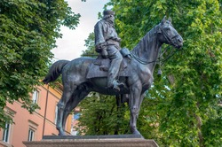 Giuseppe Garibaldi (1807-1882) monument located in front of Teatro Arena del Sole in Bologna Italy made of bronze and inaugurated in 1900.