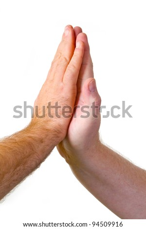 Give me five gesture - isolated on white background