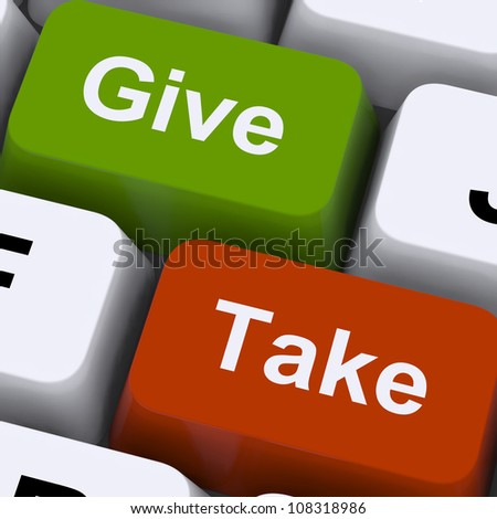 Give Or Take Keys Showing Compromising Differences To Reach Agreement Or Business Resolution. Keyboard Means Online Negotiation, Conflict And Discussion. Stock photo ©