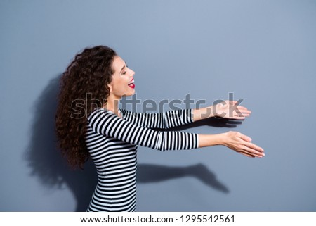 Give take free concept. Half closeup photo portrait of delightful rejoicing nice glad optimistic positive excited honest sincere hospitable lady want to hug somebody isolated grey background copyspace