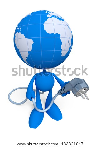 "Give The World ... An Electric Power. Cartoon man with the globe instead of a head, holding electric plug. Illustration on the theme of ""Energy Crisis"". 3D rendered image"