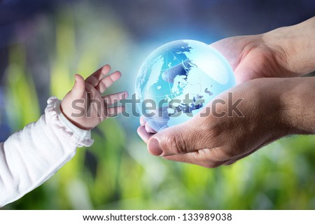 give the world to the next generation - stock photo
