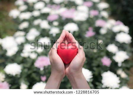 Give us your heart. Amidst a lush flower garden. Delivery of love Giving love Caring for loved ones #1228816705