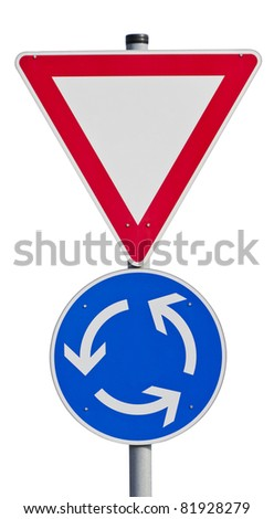Give way sign with traffic circle. With clipping path