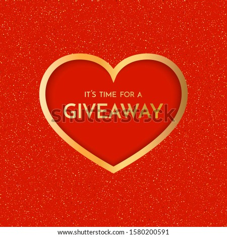 Giveaway banner template. Time for a Giveaway phrase on red background. Valentines Day Giveaway. Raster version.