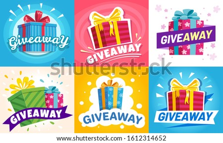 Giveaway winner poster. Gift offer banner, giveaways post and gifts prize flyer. Quiz posters, contest announcement or media event post  illustration set