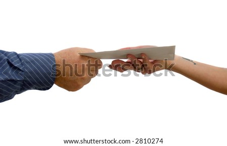 Giving and taking an envelope a couple - stock photo