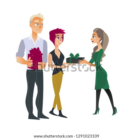 Giving gifts - young man and woman gives to girl present boxes with bows. Isolated birthday or anniversary concept with people invited to event party in cartoon illustration.