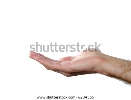 giving hand isolated on white background