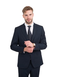 Giving man sense of style. Stylish lawyer isolated on white. Project manager in formal style. Business dress code. Formalwear. Professional wear. Fashion wardrobe.