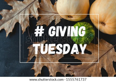 Giving Tuesday. Flat lay with pumpkins, sunflowers and dry leaves on the black background with tag #Giving Tuesday #1555761737