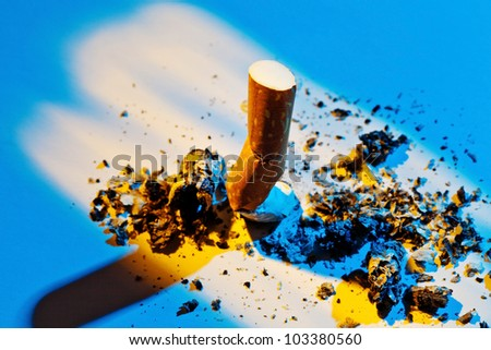 giving up smoking. close-up of the stripped cigarette - stock photo