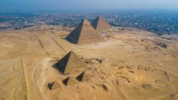 Giza pyramids landscape. historical egypt pyramids shot by drone.