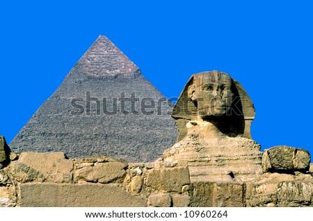 Giza, The Sphinx and Chefren Pyramid, Cairo, Egypt.