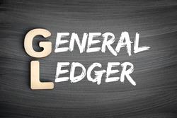 GL - General Ledger acronym, business concept on blackboard