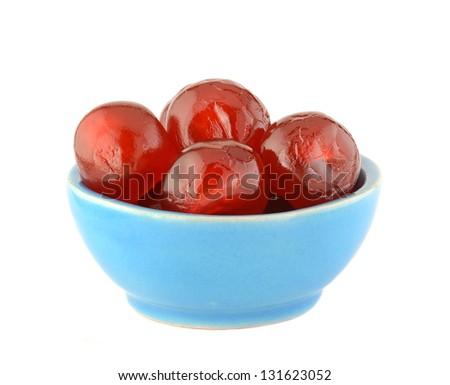 Glace cherries in ceramic bowl #131623052