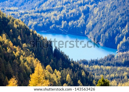 Glacial lake in the mountain forest