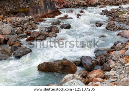 Glacial river in the Swiss Alps