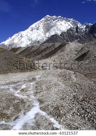 Glacial rivers run down the valleys not far from Mt Everest Base Camp, Nepal