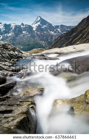 Glacial Stream in Löschental, Valais, Swiss Alps. In the Background you can see the northside of Bietschhorn. #637866661